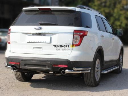 """Ford Explorer 2013г.-наст.вр-Защита заднего бампера""""уголки"""" двойные d-60+43"""
